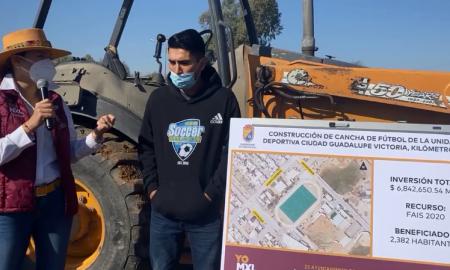 construyen, cancha futbol, Valle de Mexicali,