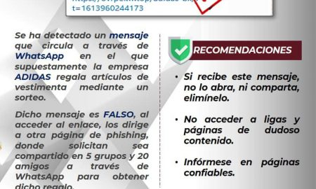 FGE, advertencia, mensaje, adidas, falso, phishing, estafadores, WhatsApp